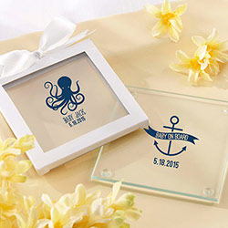 Personalized Nautical Baby Glass Coaster (Set of 12)