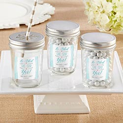 Personalized 8 oz. Glass Mason Jar - He Asked, She Said Yes (Set of 12)