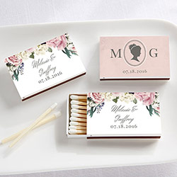 Personalized White Matchboxes - English Garden (Set of 50)
