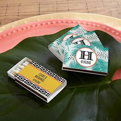 Personalized White Matchboxes - Tropical Chic (Set of 50)