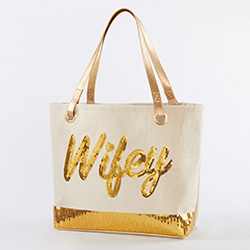 Sequin Wifey Canvas Tote Bag