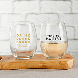 Personalized 9 oz. Stemless Wine Glass - Boozie Birthday