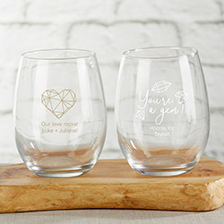 Personalized 9 oz. Stemless Wine Glass - Elements
