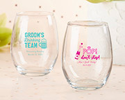 Personalized 15 oz. Stemless Wine Glass - Bachelor & Bachelorette