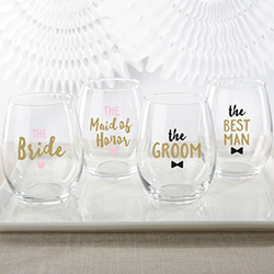 Bridal Party 15 oz. Stemless Wine Glass (Set of 4)