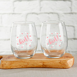 Its a Girl 15 oz. Stemless Wine Glass (Set of 4)