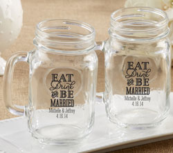 Personalized 16 Oz. Mason Jar Mug - Eat, Drink & Be Married
