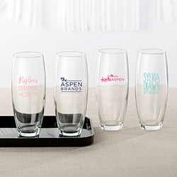 Personalized 9 oz. Stemless Champagne Glass - Custom Logo