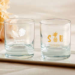 Personalized 9 oz. Rocks Glasses - Pineapples & Palms