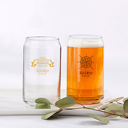 Personalized 16 oz. Beer Can Glass - Travel & Adventure