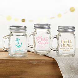Personalized 4 oz. Mini Mason Mug Shot Glass with Lid - Baby Shower