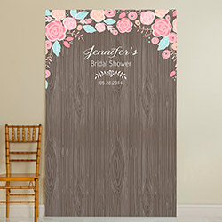Personalized Photo Backdrop - Kates Rustic Bridal Collection - Woodgrain