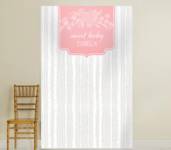 Personalized Photo Backdrop - Kates Rustic Baby Shower Collection - Trees