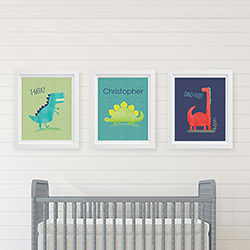 Personalized Dino Baby Nursery Décor Wall Art (Set of 3 Prints)